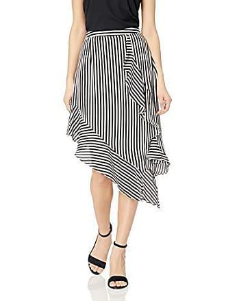 Nicole Miller Womens Knee Length Flowy Midi Skirt, Black/White, 14