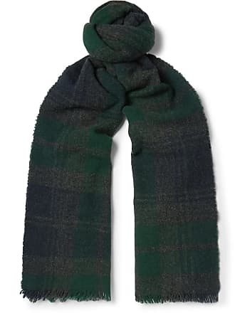 5db9bbd7c8e Begg   Co Beaufort Fringed Checked Wool And Cashmere-blend Scarf - Green