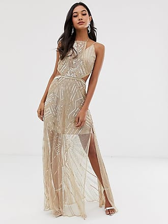Asos maxi dress with geometric embellishment and sheer panels - Gold