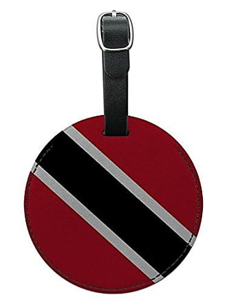 Graphics & More Graphics & More Trinidad and Tobago National Country Flag Round Leather Luggage Id Tag Suitcase, Black