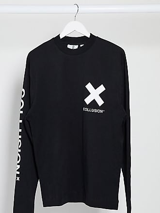 Collusion Unisex logo long sleeve t-shirt in black
