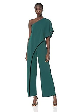 Adrianna Papell Womens Flutter One Shoulder Jumpsuit, Dusty Emerald, 2