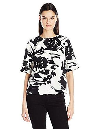Joan Vass Womens Printed Stretch Pique Top, Black/White, L