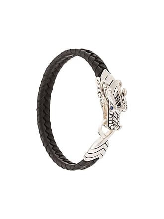 John Hardy Silver and Sapphire Legends Naga Braided Leather Bracelet - Black