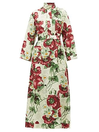 57c851d50 Gucci Poppy Print Cotton Poplin Midi Dress - Womens - Ivory Multi