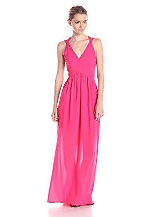 36a515500c41 Adelyn Rae Womens Deep V-Neck Maxi Dress, Fuchsia, Medium