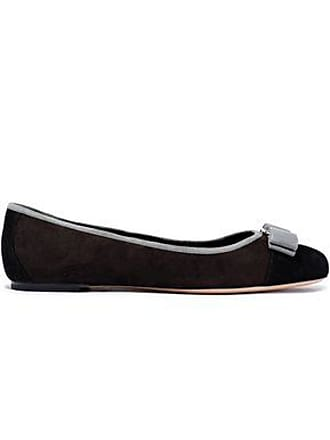 7fd36d31d Salvatore Ferragamo Salvatore Ferragamo Woman Varina Bow-embellished Suede  Ballet Flats Dark Brown Size 6.5