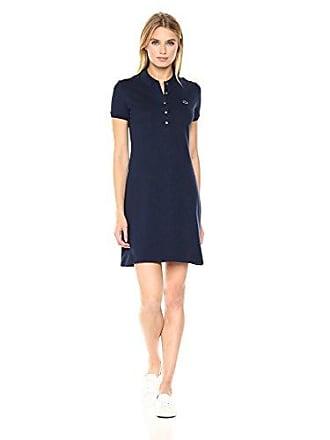 Lacoste Womens Stretch Cotton Short Sleeve Mini Piqué Polo Dress, Navy Blue, 6