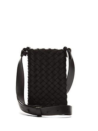 Bottega Veneta Inrecciato Leather Cross Body Phone Case - Mens - Black