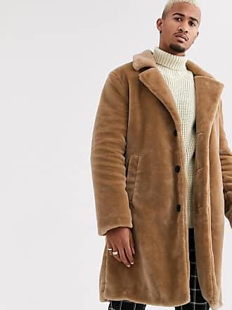 Topman faux fur jacket in brown-Stone