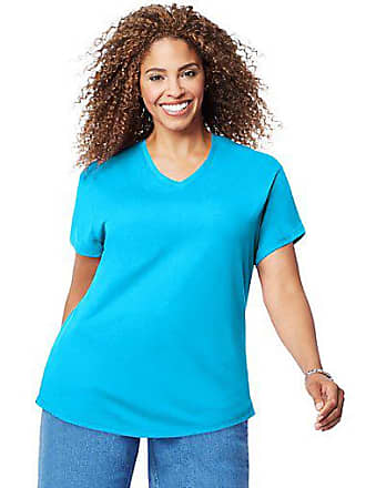 Just My Size Cotton Jersey Short-Sleeve V-Neck Womens Tee Process Blue 1X