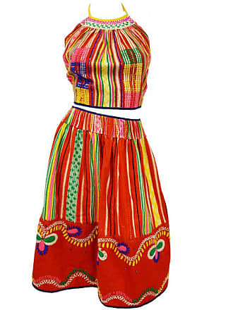 2ae86477385d0 1stdibs Vintage Ethnic Multicolored Woven Skirt And Halter Top 0
