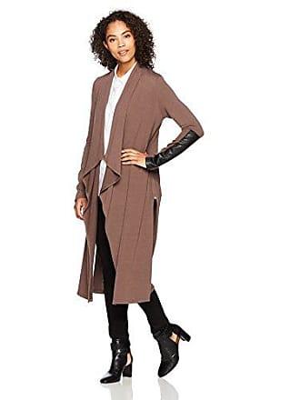 Karen Kane Womens Faux Leather Patch Sweater Duster, Mushroom, XS