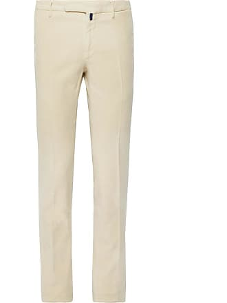 Incotex Slim-fit Garment-dyed Stretch-cotton Moleskin Trousers - Cream