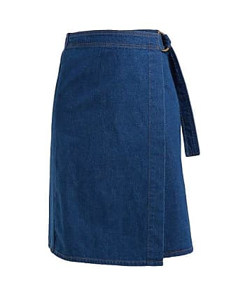 Mih Jeans Ria Cotton Chambray Wrap Skirt - Womens - Dark Blue