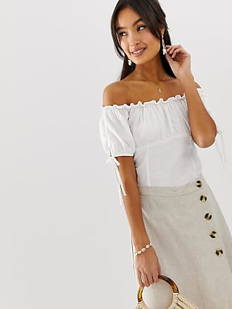New Look Bardot linen look top with tie sleeves in white - White