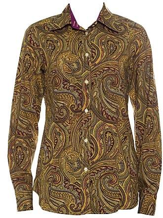 1987c3fcec5f4 Etro Yellow Paisley Printed Cotton Contrast Trim Detail Long Sleeve Blouse M