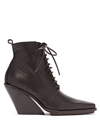 Ann Demeulemeester Slanted Heel Lace Up Leather Ankle Boots - Womens - Black