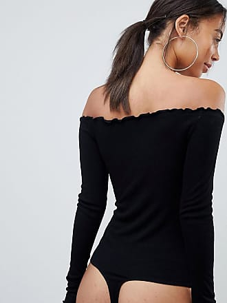 9ccceccbb2af Asos Tall ASOS DESIGN Tall off shoulder body with long sleeves and  lettucing in black -