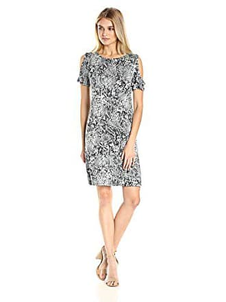 Calvin Klein Womens Printed Cold Shoulder Dress, Black Animal XS