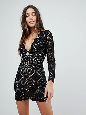Love Triangle v neck mini dress in all over lace - Black