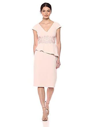 Adrianna Papell Womens Short Knit Crepe Dress with Peplum and LACE APPLIQUÉ, Blush, 6