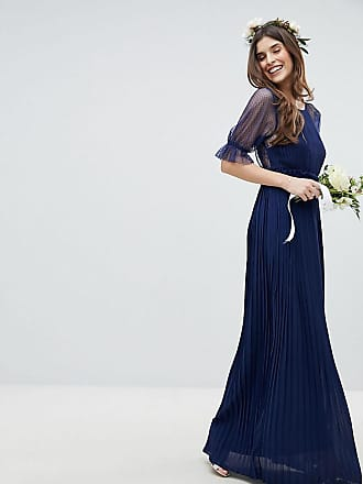 1c155736bce Tfnc Pleated Maxi Bridesmaid Dress With Spot Mesh Frill Detail - Navy