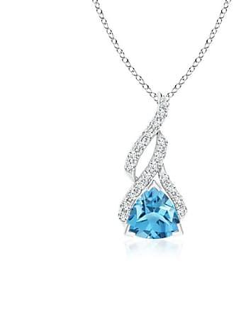 Angara Valentine Day Sale - Trillion Swiss Blue Topaz Solitaire Pendant with Diamond Swirl