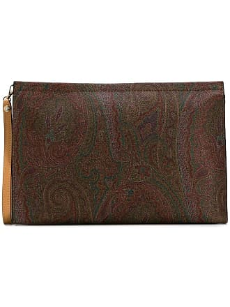 Etro paisley patterned clutch bag - Brown
