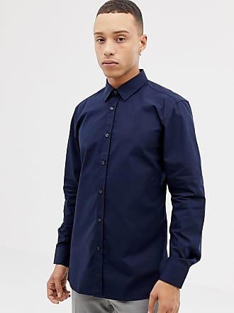 84dc077518 HUGO BOSS Camiseta de corte slim marcado de popelina en azul marino  Elisha01 de HUGO