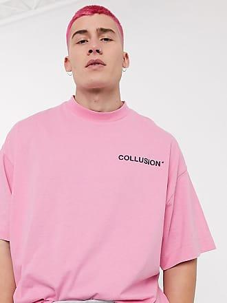 Collusion Oversize-T-Shirt in Rosé mit erhabenem Logoaufdruck-Rosa