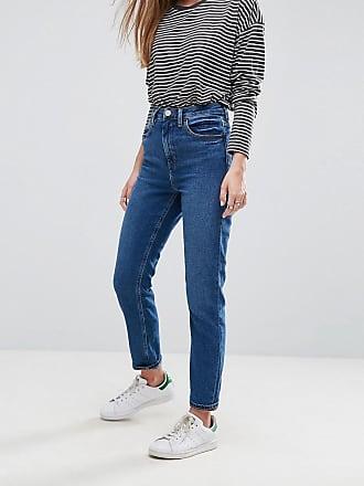 Asos Farleigh - Schmale Mom-Jeans mit hohem Bund, dunkel verwaschen-Blau