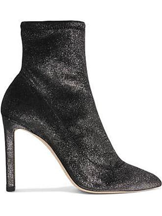 033aec534c49 Jimmy Choo London Jimmy Choo Woman Louella 100 Metallic Stretch-velvet Sock  Boots Anthracite Size