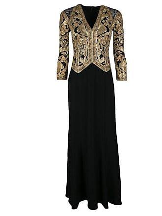 4b7c3eb8df7 1stdibs Tadashi Shoji Black And Gold Cord Embroidered Long Sleeve Trompe  Loeil Gown Xs