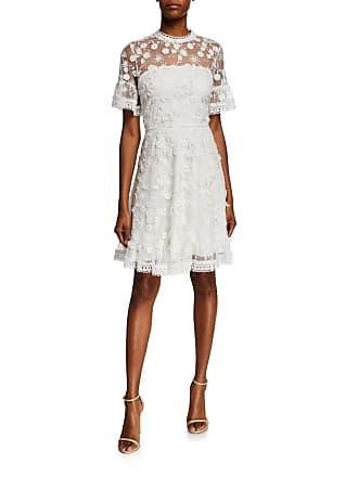8e0a0894308 Shoshanna Sora Short-Sleeve Floral-Embroidered Mesh Dress