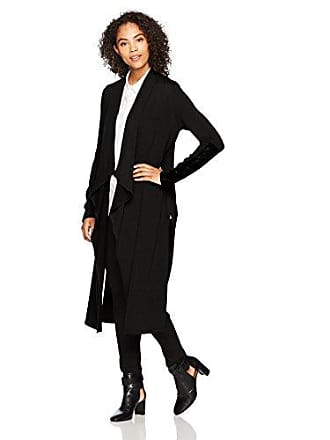 Karen Kane Womens Faux Leather Patch Sweater Duster, Black M
