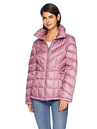 Kenneth Cole Womens mid Length Zip Puffer Jacket with Mixed Quilting, Mauve, L