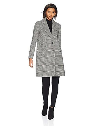 Kensie Womens MID Length Straight Coat, Black/White, Extra Large