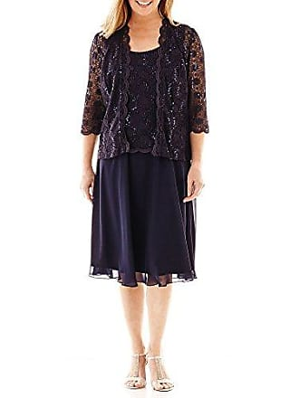 R&M Richards Womens Full Coverage Mother of The Bride Dress, Navy, 6