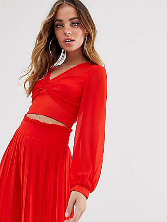 Tfnc Petite knot front long sleeve wrap two-piece top in red - Red