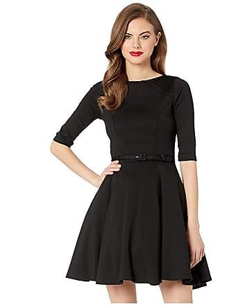 Unique Vintage Knit 1/2 Sleeve Fit Flare Dress (Black) Womens Dress