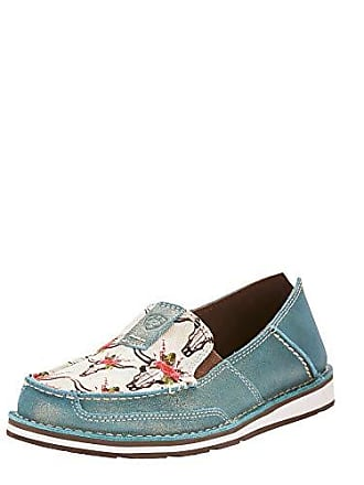 Ariat Ariat Womens Cruiser Moccasin, Steer/Roses Print/Shimmer Turquoise, 9.5 B US