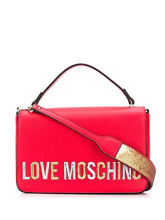 Love Moschino laminated logo shoulder bag - Red