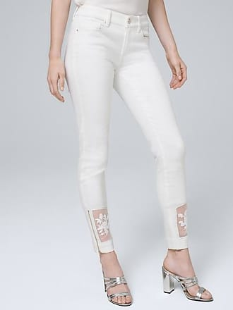 White House Black Market Womens Classic-Rise Sheer-Hem Skinny Ankle Jeans by White House Black Market, White, Size 16 - Regular