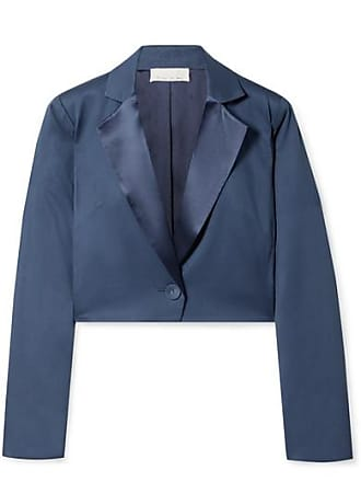 Fleur du Mal Cropped Satin-trimmed Silk And Wool-blend Piqué Blazer - Storm blue
