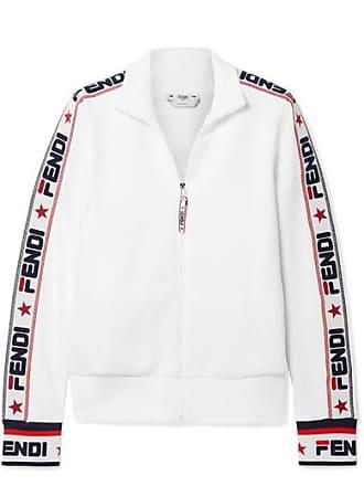 4e6c648f7652 Fendi Embroidered Cotton-blend Jersey Track Jacket - White