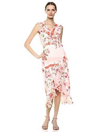Calvin Klein Womens Midi Dress with Chiffon Ruffle, Porcelain Rose Multi, Large