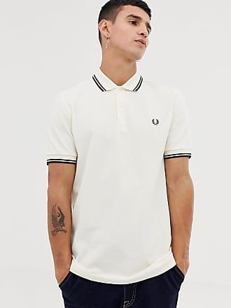 Fred Perry Polohemd mit zwei Zierstreifen in Creme - Weiß 2d43829aa3