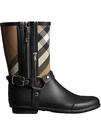 1bfb8f16ead Burberry Buckle and Strap Detail Check Rain Boots - Black