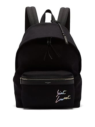 Saint Laurent City Logo Embroidered Canvas Backpack - Mens - Black 7fcfd2c7f7002